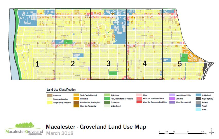 Mac-Grove parcel, land use, and grid map