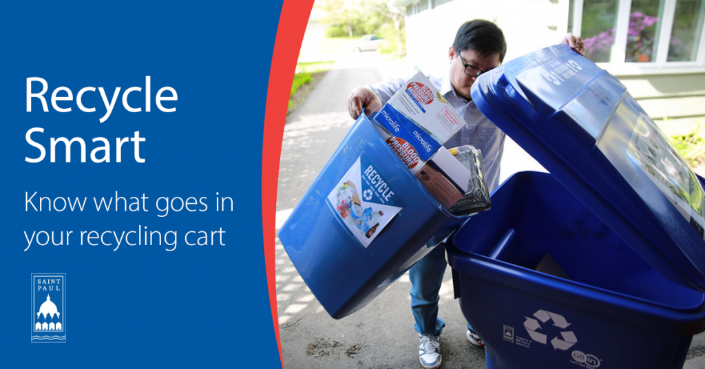 Image with Text: Recycle Smart: Know what goes in your recycling cart
