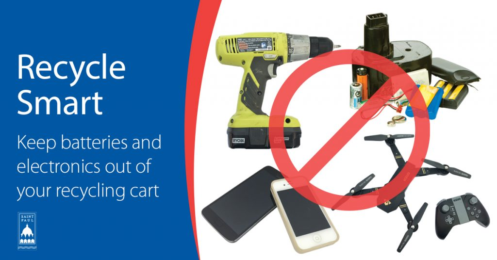 Image with Text: Recycle Smart, Keep electronics and batteries out of your recycling cart.